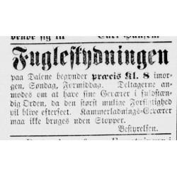 Klikningsstopper var påbud under fulgeskytingsstevnet på Dalene i 1875 (Fædrelandsvennen No. 13 1875).