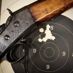 Ti skudd med svartkrutt.net-kula og 50 grains sveitser #4. Kulefett er SPG. Avstand 50 meter.